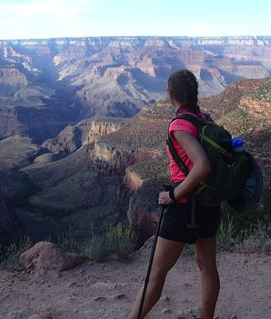 "Getting in Shape to Hike the Grand Canyon -  ""I did a lot of squats and core work. Twice a week my husband and I would go on long hikes or walks just to get ourselves used to being on our feet for hours. I'd do the stair climber for 50 minutes three times a week; it was very tough. [During the hike] There were a lot of ups and downs physically, but the training was spot-on so we felt good about the way we trained."""