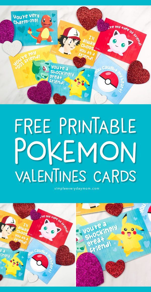 photograph regarding Pokemon Valentine Cards Printable titled No cost Printable Pokemon Valentines Playing cards Your Small children Will Be