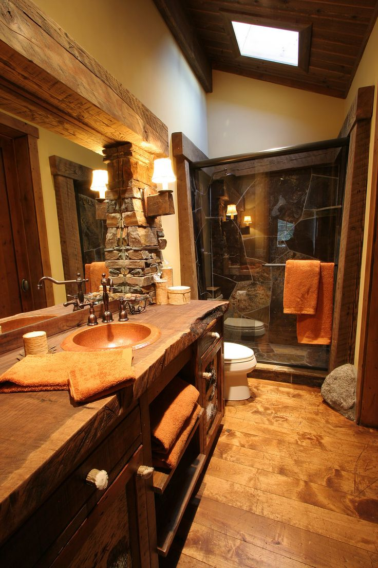 157 best images about cabin bathroom design ideas on pinterest for Log cabin bathroom design ideas