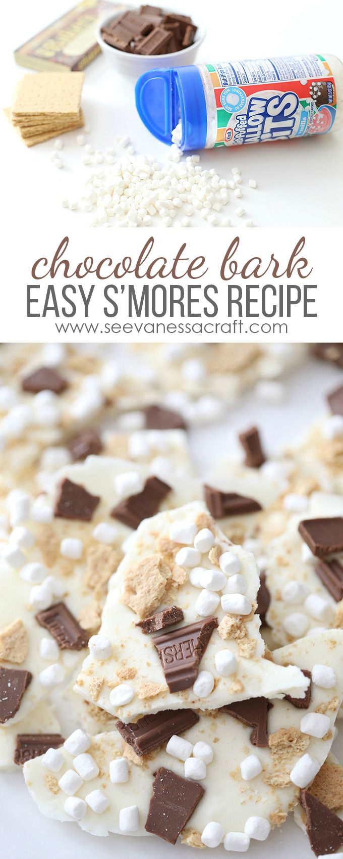 Make a batch of S'mores Chocolate Bark for a camping themed party treat or rustic wedding party favor. Easy marshmallow recipe! @kraftjetpuffed #ad #JetPuffed #JetBuffedBlogger