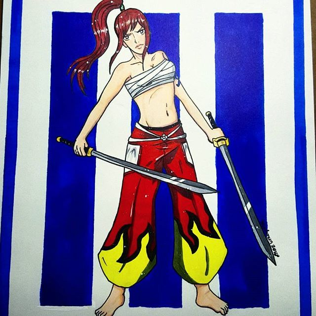 Number 3 of 4 collaborations with @Icandrawiswear ! Erza from Fairytail!  #erza #fairytail #sword #art #drawing #copics #doodle #sketch #instaart #instadraw #f4fart #microns #washitape #watercolor #gelpen #anime #kawaii #cute #catoriki