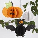 Pompoen, spook en vleermuis...grappige decoraties gemaakt van papier, met duidelijke uitleg
