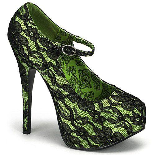 Bordello By Pleaser Women's Teeze-07L Platform Pump: Black Lace, Shoes, Green Lace, Bordello, Platform Pumps, Limes Green, Lime Green, Teeze 07L, High Heels