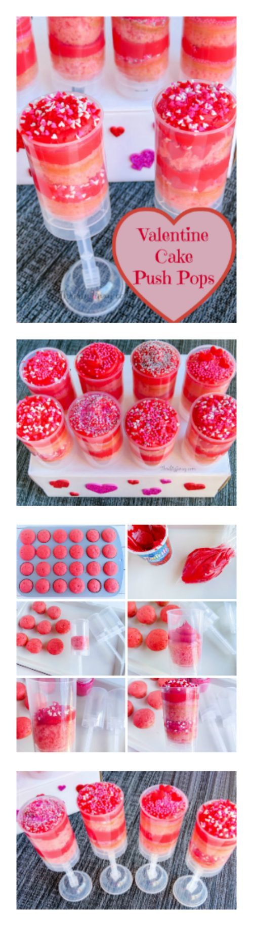 Use push pop containers to make this yummy and adorable Valentine Cake Push Pops Recipe perfect for any Valentine's Day party.