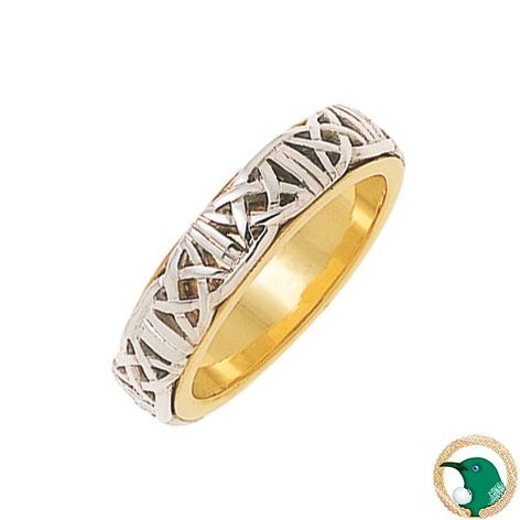 Our Ladies Encouragement Celtic ring in 18ct white and yellow gold