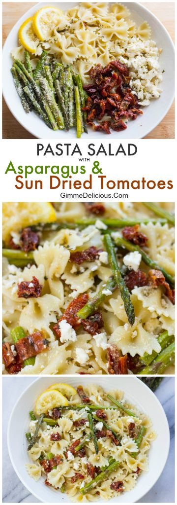 Pasta Salad with Asparagus and Sun Dried Tomatoes #gimmedelicious #easydinners #pastasalads