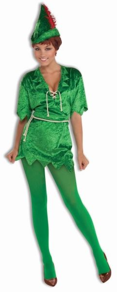 Adult Peter Pan Female Costume - Neverland Lost Boys  Includes: Velvet Dress, Rope Belt, Hat with Feather and Tights!  2 Sizes to choose from:  Xtra Small/Small fits sizes 2-6 Medium/Large fits sizes 8-12