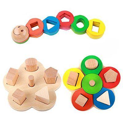 Legno Forma Colore Riconoscimento Pila Ordina Puzzle Giocattoli, regali di compleanno giocattolo per età 2 3 4 anni in su dei bambini del capretto del bambino del bambino della ragazza del ragazzo
