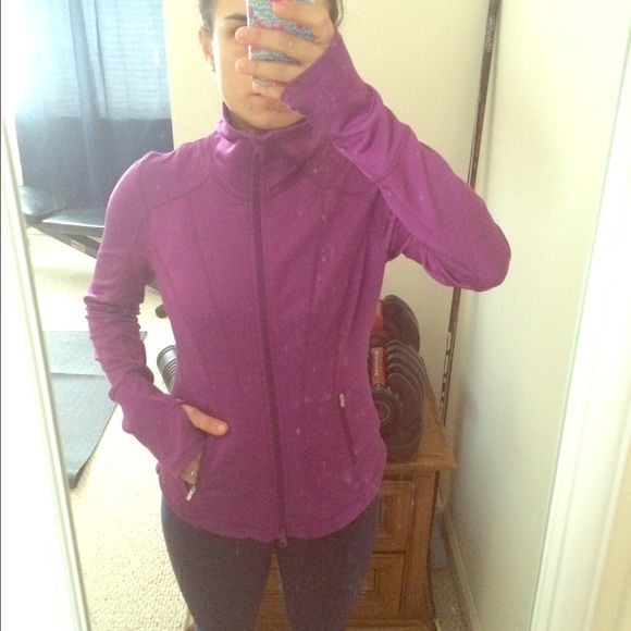 Zella Activewear Vented Workout Jacket, XS! Zella Activewear Back Vent Jacket, XS, Purple! Full zipper front, fitted, no hood, monkey thumb holes, mesh back vent, and zippered front pockets! Will cover neck if zipped up fully! Super comfy for working out! Made of the nice soft and stretch workout material! In GREAT CONDITION (sorry mirror is a little dirty ) except there was a hole to the left bottom hem that I sewed closed (see picture #4). Beautiful purple color! OPEN TO OFFERS! Zella…