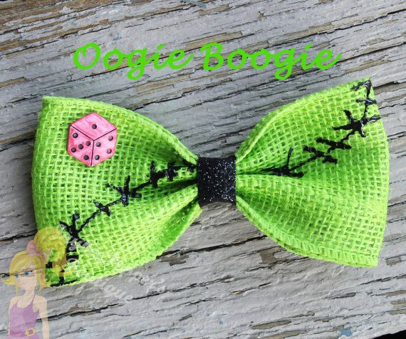 Oogie Boogie hair bow Nightmare before christmas hair bow Boogie man hair clip girls cute burlap stitch character inspired