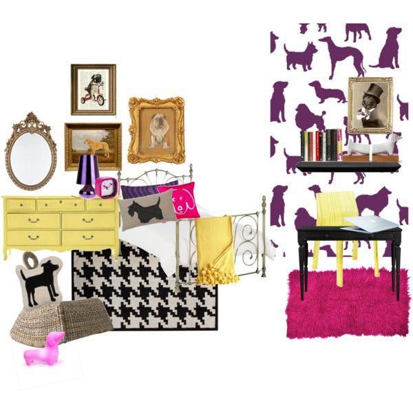 Retro Bedroom Wallpaper Bedroom Ideas Yellow Walls Eclectic Bedroom Decorating Ideas Kids Bedroom Wallpaper Designs: Eclectic Chic Dog Themed Girls Bedroom