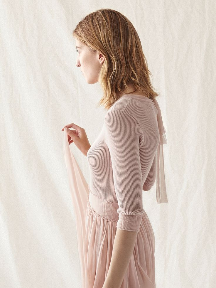 Combined tulle and knit dress
