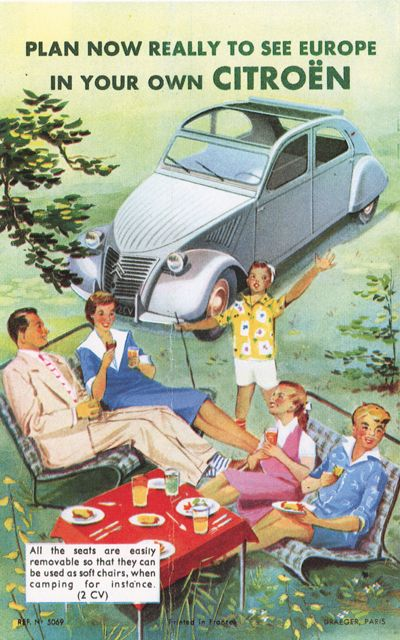 """""""Plan Now Really to See Europe in Your Own Citroen... All the seats are easily removable so that they can be used as soft chairs, in camping for example.""""Citroën marketed to American tourists."""