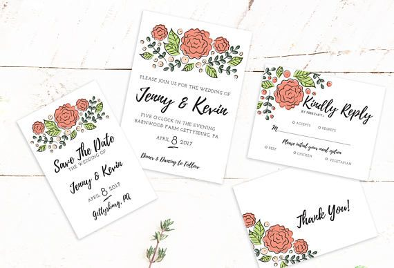 Spring Floral Wedding - Mailer Package   Save the Date   Invitation   Reply Card Package   Thank You