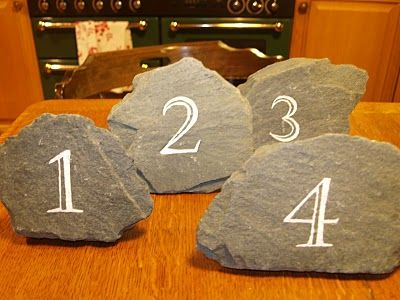 """""""Perfect for an outdoorsy /rock climbing couple!"""" diy Wedding Ideas: Rock Table Numbers"""