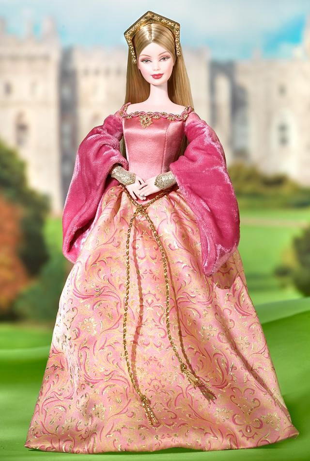 I collected Barbies of the world and she was my favorite :)  Princess of England Barbie with dress based on a portrait of young Elizabeth I, a rose colored satin bodice and rosy pink skirt decorated with golden renaissance inspired patterns. Golden embellishments accent her outfit, including a golden cord that ties at her waist, a brooch, and a regal crown based on the steeple-shaped headdresses of the era.