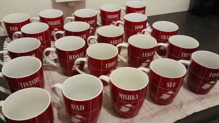 www.facebook.com/kdglassfrosting  Personalised ceramic coffee mugs, with sandblasted names and santa silhouette