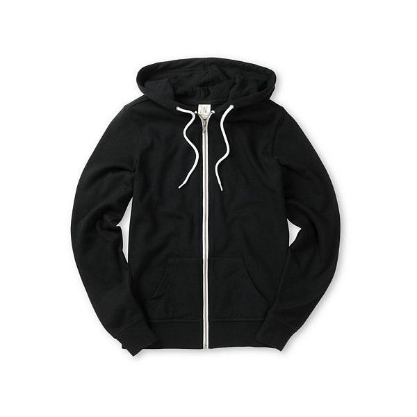 Zine Black Hoodie ($40) ❤ liked on Polyvore featuring tops, hoodies, sweat shirts, black hoodies, fleece hoodie, zip up hoodie and zip up hoodies