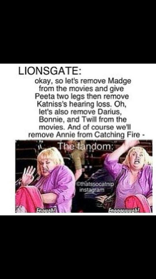 Lionsgate is too mean to the fandom. I ,mean.. I just wish they would know the important oif those characters... Now I'm sad :_-(((