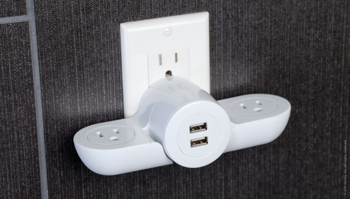 Charger with two outlets and two USB ports.
