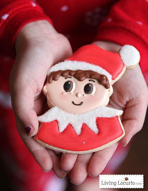 Adorable Elf on the Shelf Cookies! Great for a this fun Christmas Tradition or elf party. LivingLocurto.com