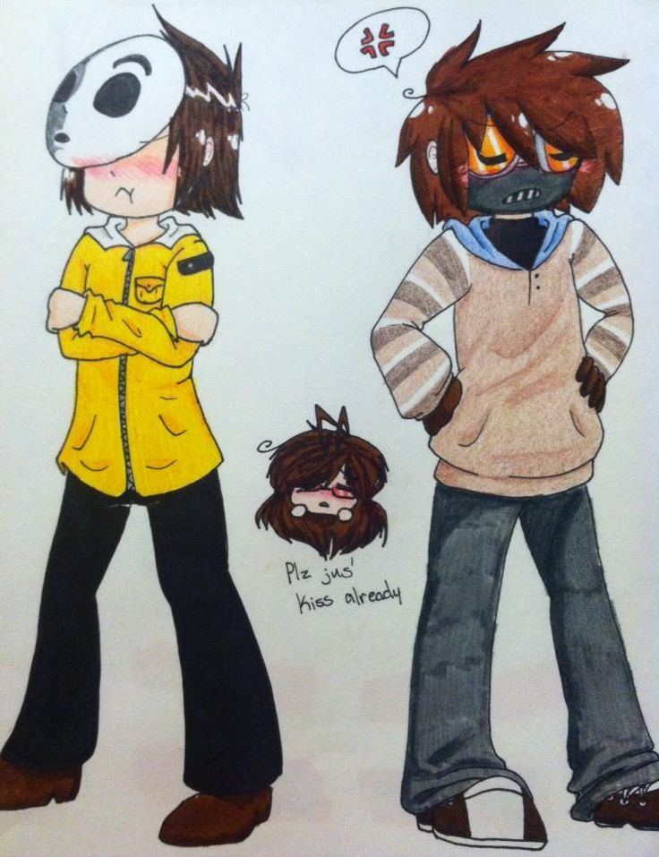 creepypasta toby x masky. But I think it would be the other way around. Toby would be blushing and Masky would be mad.