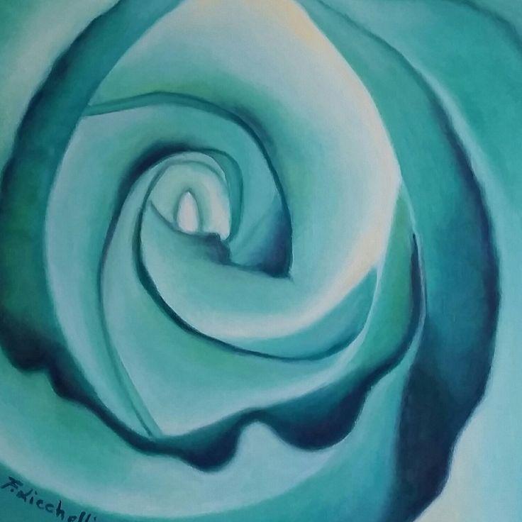 Dipinto originale astratto, olio su tela, colori verde acqua e bianco, piccolo formato, misure: 30 x 30 cm., anno: 21015.