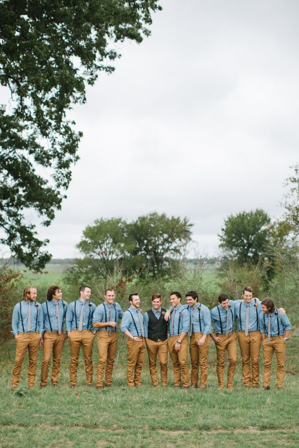relaxed groomsmen look with vest and khakis #groom #groomsmen #weddingchicks http://www.weddingchicks.com/2014/01/24/true-love-texas-wedding