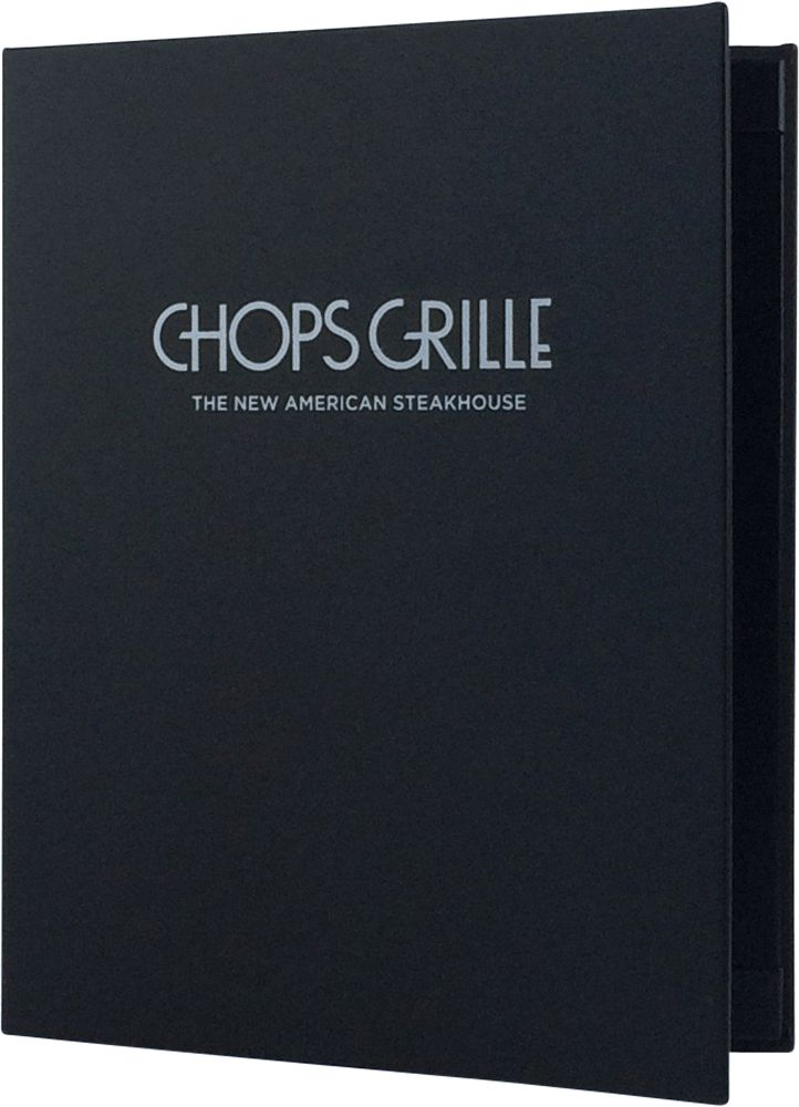 Chops Grille - Create an attractive arrangement of your menu items with menu covers from Menu Designs. We have a large selection of menu covers made from the finest materials. Whether you're a café interested in menu boards or a five star dining establishment who's looking for leather menu covers, we're sure you'll find the perfect menu covers for your restaurant.