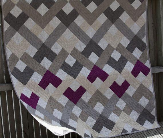 Woven Chevron Quilt >> In solids >> ONE OF A KIND quilt, Neutrals & Fuchsia quilt, Modern Quilt