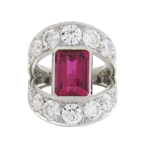 THE SANDY RING  A custom designed statement using pink tourmaline and round brilliant diamonds set into white gold.