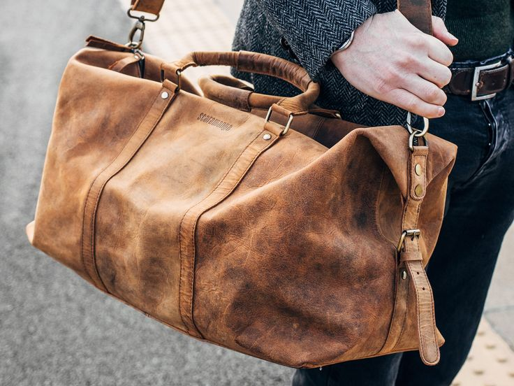 Leather Duffle Bag from Scaramanga's unique collection of leather travel bags. This leather duffle bag will last a lifetime with it's full leather construction. #giftsformen