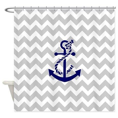 Chevron Anchor Shower Curtain on CafePress.com