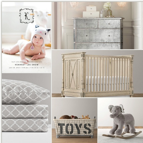 Silver modern rustic baby room