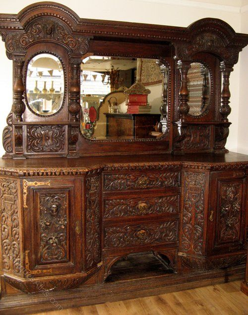 Victorian Gothic Carved Sideboard Buffet Cabinet - Antiques Atlas