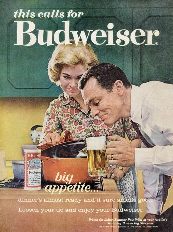 1960s Budweiser Beer Ad Husband Wife Cooking by AdVintageCom