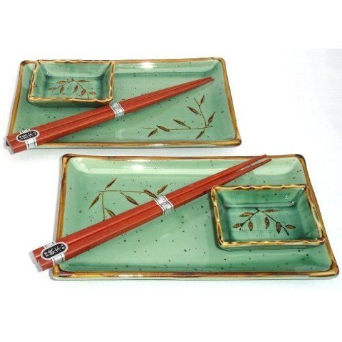 Dish Set by Miya. $25.45. Two rectangular plates 8 1/2 Inch by 5 Inch, Two rectangular sauce dishes 3 1/4 Inch by 2 1/4 Inch & Two pairs 9 Inch wooden chopsticks. These beautiful sushi plates make your sushi to go look like you made it yourself! makes a great gift.. Save 15%!