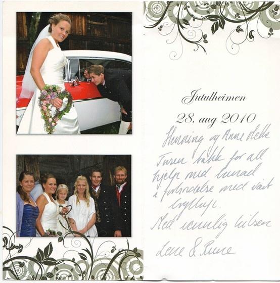 Henning og Anne Mette Tusen takk for all hjelp med bunad  forbindelse med vårt bryllup. Med vennlig hilsen Lene og Rune