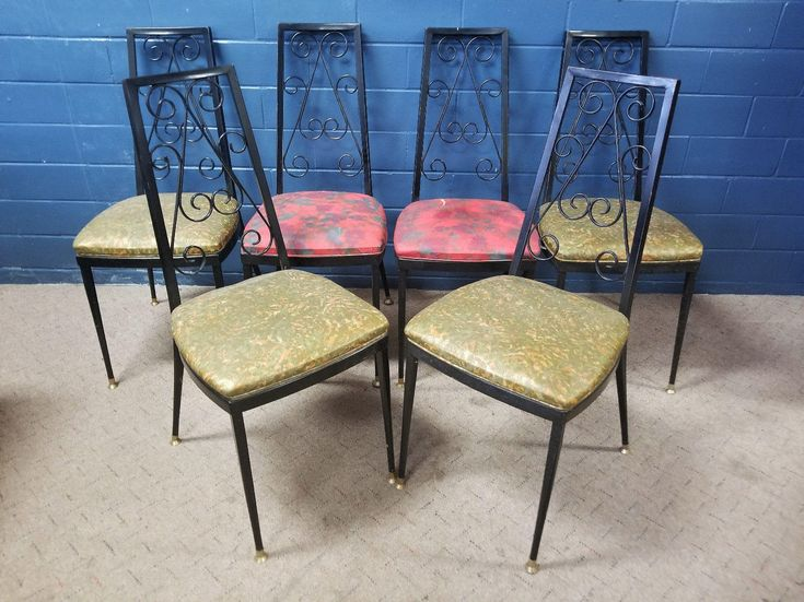 Vintage Wrought Iron Kitchen Chairs Upholstered Seats Dining Mid Century Modern by TakeFiveVintage on Etsy