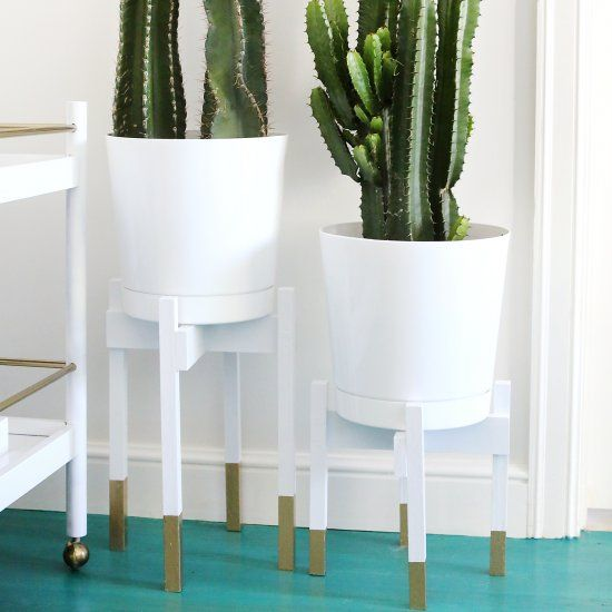 White and Gold Midcentury Planters
