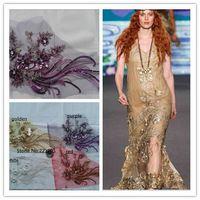 nuovo di alta qualità 3d fiore di cristallo paillettes tulle ricamato merletto africano del tessuto filati tessili cucire abito da sposa vestiti