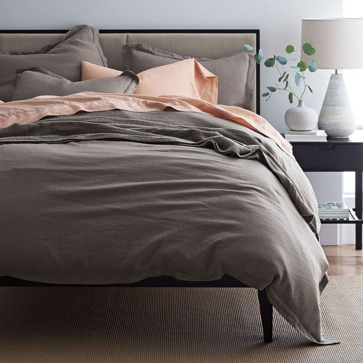 More expensive but this linen is so soft and comfortable, no scratchiness at all.  Comfort Wash Solid Linen Duvet Cover / Sham