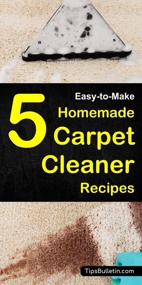 DIY homemade carpet cleaner recipes for manual and machine use. Including carpet spot remover recipe for pet, dog urine stains, dry and deep clean your rugs. DIY carpet cleaning solutions can be used manually in a spray bottle or in shampooer machines.#carpetcleaning #homemade #carpetstains #diy