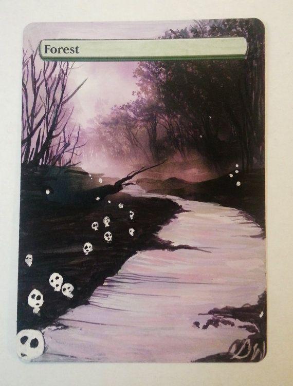 MTG altered art Forest with Tree Spirit Miyazaki inspiration by WallqvistStudio on Etsy
