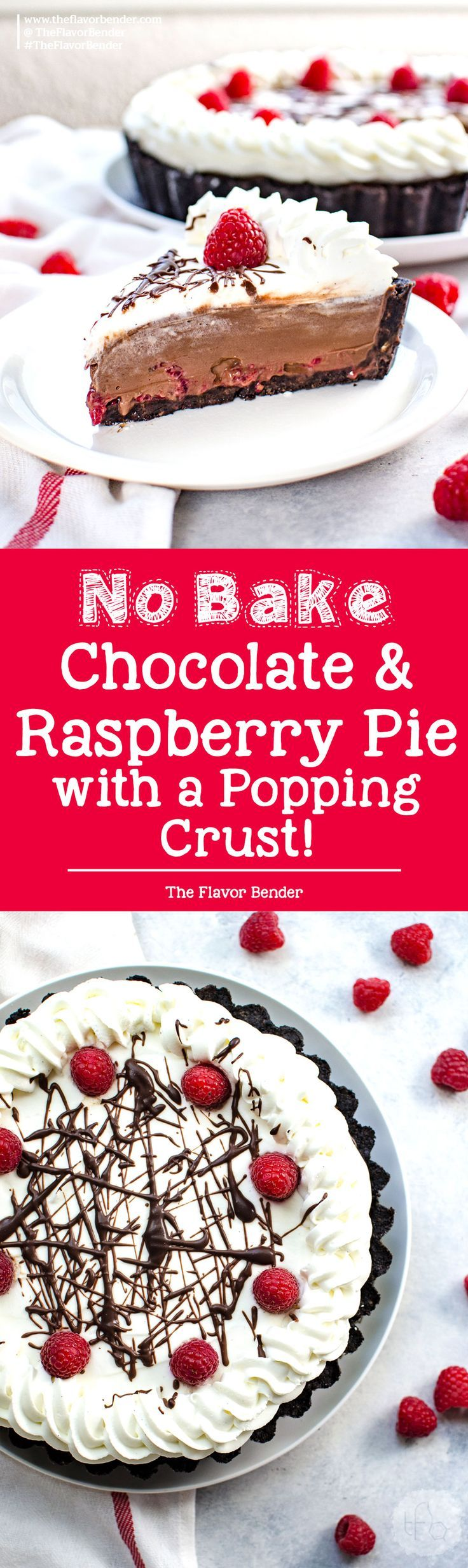 Popping No Bake Chocolate Raspberry Pie - An irresistibly creamy, smooth, and fool-proof dessert with a decadent chocolate pudding filling, with fresh raspberries and a pop rock cookie crust! via @theflavorbender