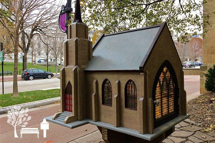 This incredible #LittleFreeLibrary is a replica of Grace Episcopal Church in Madison, WI! The stained glass windows are exact replicas, and they actually light up at night!