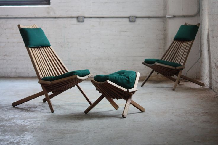 ***ON DECK*** Interesting Vintage Danish Modern Teak Folding Slat Chairs and Ottoman (Denmark) | Flickr - Photo Sharing!