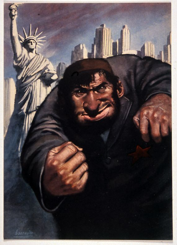 1943  Anti-Semitic, Fascist Propaganda Poster from Italy. by Gino Boccasile.  Man wearing soviet red star shaking fist by Statue of Liberty.