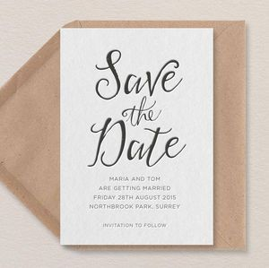 Calligraphy Letterpress Save The Date - save the date cards
