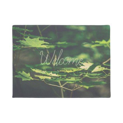 Sunlit Leaves Forest CUSTOM Green Door Mat - image gifts your image here cyo personalize